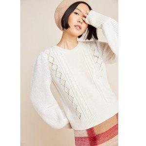 NWT Anthropologie Elizabeth Pointelle Wool Sweater